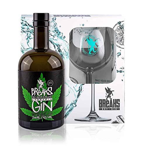 Breaks CANNABIS Gin - Geschenk Set mit Glas + 500 ML Cananbis Gin - Ausgezeichneter Gin mit Hanf und Kräuternote - Handmade Gin -