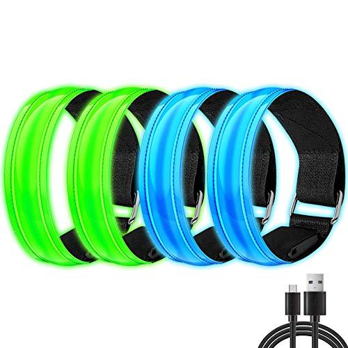 Alintor LED Armband Aufladbar, 4 Stück Leuchtband mit USB, Reflektoren Kinder Leuchtarmband, Lauflicht für Laufen Joggen Hundewandern Running Outdoor Sports Fahrradzubehör