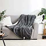 EHEYCIGA Heated Blanket Throw Electric with 5 Heating Levels & 3 Hours Auto Off, Super Cozy Fluffy and Machine Washable Sherpa Electric Throw with Fast Heating for Couch (50 x 60 Inches, Grey)