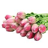 Kitchnexus 10 Stück Tulpen Kunstblumen PU Real Touch Künstliche Tulpen 35CM Für Hochzeit Blumenstrauß Gartendeko