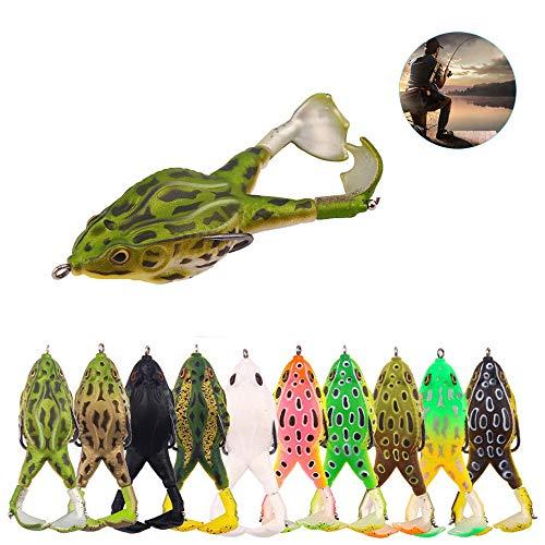 BMSWFDDLY 10 Stück Doppelpropeller Frösche Weichköder 3,5 Zoll Topwater Angeln Künstlicher Köder Silikonköder Köder-Kits Für Bass Pike Snakehead Dogfish Salmon (10 Pcs)