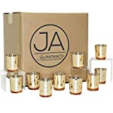 """Just Artifacts (Bulk Mercury Glass Votive Candle Holder 2.75"""" H (100pcs, Speckled Gold) - Mercury Glass Votive Tealight Candle Holders for Weddings, Parties and Home Décor"""