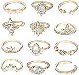 BERYUAN Trendy Casual Women Crystal Teardrop Gold Star Ring Set Rhinestone Rings for Girls Teens Jewelry Rings Size (4.5,5,5.5,6,7,7.5,8,9)(12PCS)