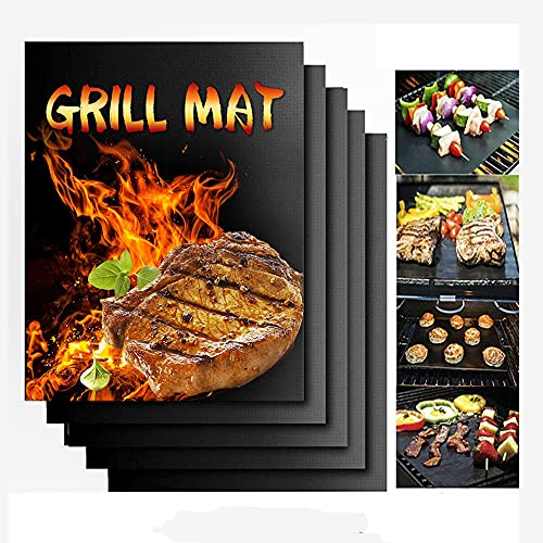 KOROTUS COLLECTION 5er Set BBQ Grillmatte Teflon Grillplatte gasgrill Grill Matten Antihaft Grill-und Backmatte Wiederverwendbar PFOA-Frei-Toll über Kohle 40x33 cm