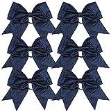 Cheerleader Bows Cheerleading 8 inch Sparkle Ponytail Holder Hair Tie Schoolfor...