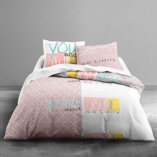 Today Enjoy You and Me-beddengoed HC3: dekbedovertrek 220 x 240 cm + 2 kussenslopen, 100% katoen, 57 draden, wit/grijs/roze/blauw/geel, 220 x 240 cm