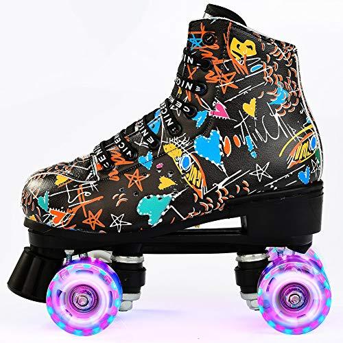 Damen Klassische Retro Rollschuhe,Rollschuhe mit Vier Rollen in Doppelreihe,Classic Roller, Rollschuhe für Kinder,LED Rollschuhe, ideal für Anfänger, komfortable Roller-Skates (41)