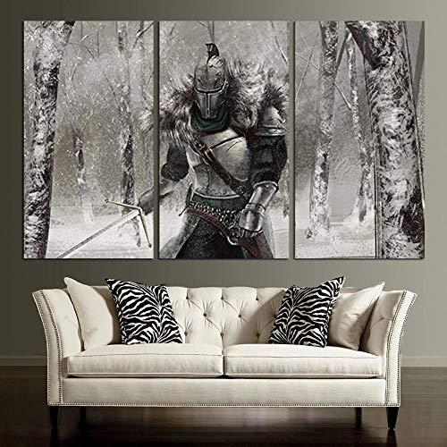 Impresión Hd Lienzo Pintura Moderno Hd Modular 3 Piezas Impreso Pintura Sala Estar Decoración Del Hogar Póster Cuadro Lienzo Regalo Creativo 50Cmx70Cmx3(Marco) Armadura Casco Dark Souls Knight Ii