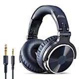 OneOdio Over Ear Headphone Studio Wired Bass Headsets with 50mm Driver, Foldable Lightweight Headphones with Shareport and Mic for DJ Recording Monitoring Mixing Podcast Guitar PC TV (Night Blue)
