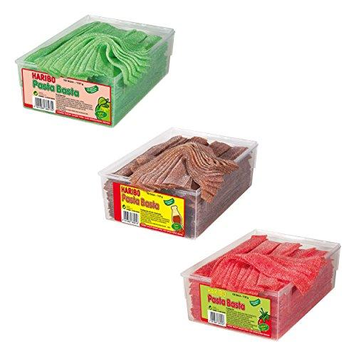 3 Dosen Haribo Pasta Basta Sour Set, 3 Sorten, Gummibärchen, Weingummi, Fruchtgummi, 3 x 1125g