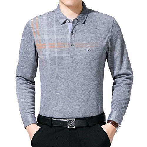 HaiDean Camisa De Los Hombres Edad Tamaño De Gran Media Modernas Casual Longsle Delgada Blusa A Cuadros En Forma De T Y Otoño Camisa De Regalo del Padre (Color : Grau, Size : 2XL)