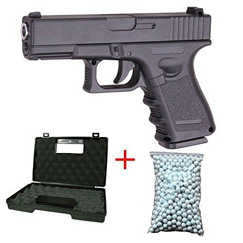 Galaxy G.15 Pistola a molla da softair tipo Glock 17, con culatta in metallo, colore nero, con sacchetto da 600 pallini e valigetta inclusi, Forze Speciali/Swat/Cosplay, potenza 0,5 joule