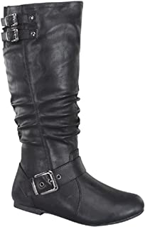 Night-76 Women's Slouched Under Knee High Flat Boots