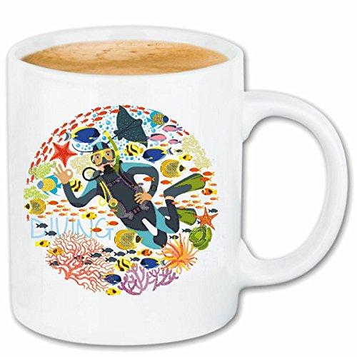 Reifen-Markt Tasse à café Diver Logo Plonger Plongeur ÉQUIPEMENT PLONGÉE PLONGÉE Céramique 330 ML en Blanc