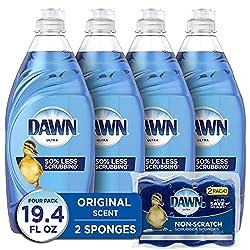 cheap Dawn Ultra Liquid Dishwasher Soap (4 x 19 oz) + Scratch-Free Sponge (2 ct), Original Fragrance …