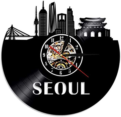 CDDRSXYQ Reloj de Pared Reloj con Disco de Vinilo Seúl Corea del Sur Reloj Vintage Reloj de Cuarzo Mudo Reloj de Pared Hecho a Mano Regalos Luminosos Personalizados para niños y Adultos