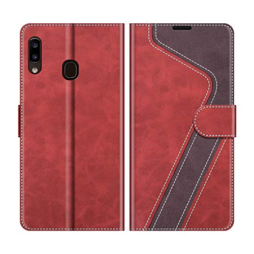 MOBESV Handyhülle für Samsung Galaxy A20e Hülle Leder, Samsung Galaxy A20e Klapphülle Handytasche Case für Samsung Galaxy A20e Handy Hüllen, Modisch Rot