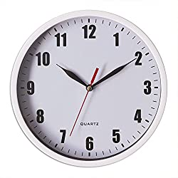 8 Silent Wall Clock Non-ticking Decor Digital Quartz Wall Clock Battery Operated Easy to Read Round Wall Clock(White)
