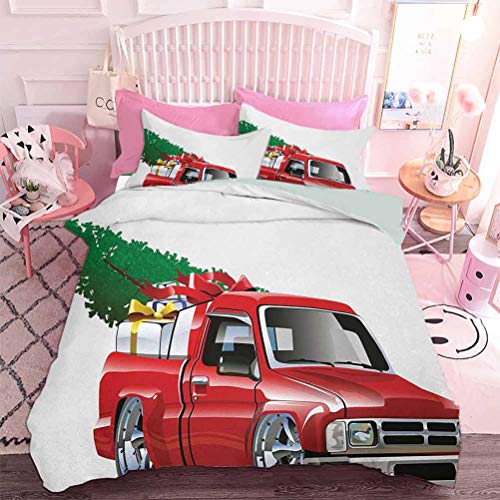 Hiiiman 3pcs Bedding Set Red Pickup Truck with Big Gift Boxes and Tree Xmas Art Prints Farm Theme Print (3pcs, King Size) 3D Lifelike Printing Duvet Cover