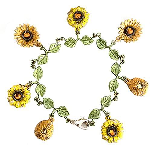 GMN Pulsera de Arte Vintage Pulsera de la Serie Girasol Pulsera Exquisita de Flores de Sol Multicolor