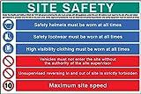 Site safety - cartello di sicurezza in PVC rigido, hivis, stivali, 10 km/h