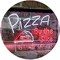 Pizza by the Slice Shop Display Advertising Décor Dual Color LED看板 ネオンプレート サイン 標識 白色 + 赤色 600 x 400mm st6s64-i2004-wr