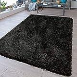 TT Home Waschbarer Hochflor Teppich Shaggy Flokati Look In Uni Schwarz, Größe:80x150 cm