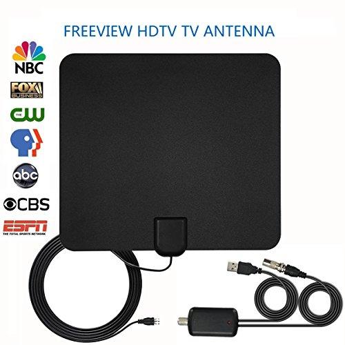2018 geüpgraded Versie TV Antenne HD, TV-ante Freeview Indoor TV Luchtvaart 50 mijl Bereik Digitale HDTV Indoor Antenne met Afneembare Versterker Signaal Booster en 13FT Lange Coax Kabel, Ondersteuning VHF/UHF/FM
