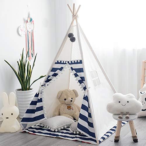 TreeBud Kids Teepee Tenda da Gioco con Tappetino Tende Indiane da Esterno per Interni con Tenda a Righe Casetta dei Giochi Pompon Pizzo in Tela di Cotone con Borsa per Il Trasporto (Strisce Blu)