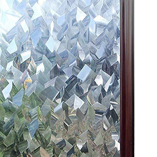 Fensteraufkleber, 3D-Kristall, dekorativ, Buntglas-Fensterfolie, entfernbar, selbstklebend, statisch, Vinyl, Fensterpapier, 75 x 200 cm