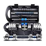 WXH EIN Paar verstellbare Kurzhanteln Langhantel, mit Stecker, hochwertigem Gusseisen, insgesamt 45...