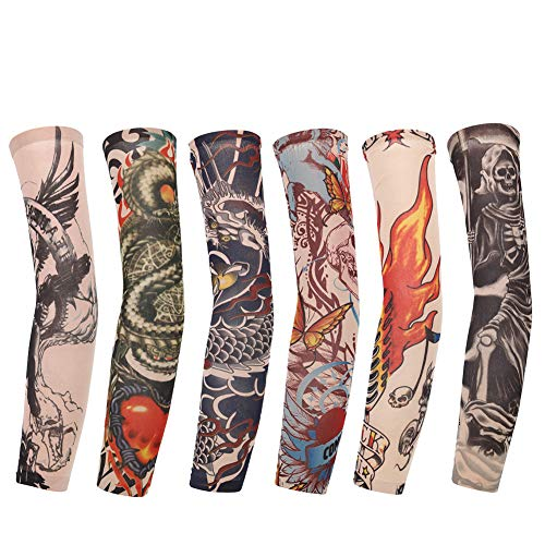 Set of 6 Tattoo-Ärmeln Unisex Nylon Tattoo sleeves Tattoo Arm Strümpfe Fake Slip Tattoo für Karneval/Kostümparty