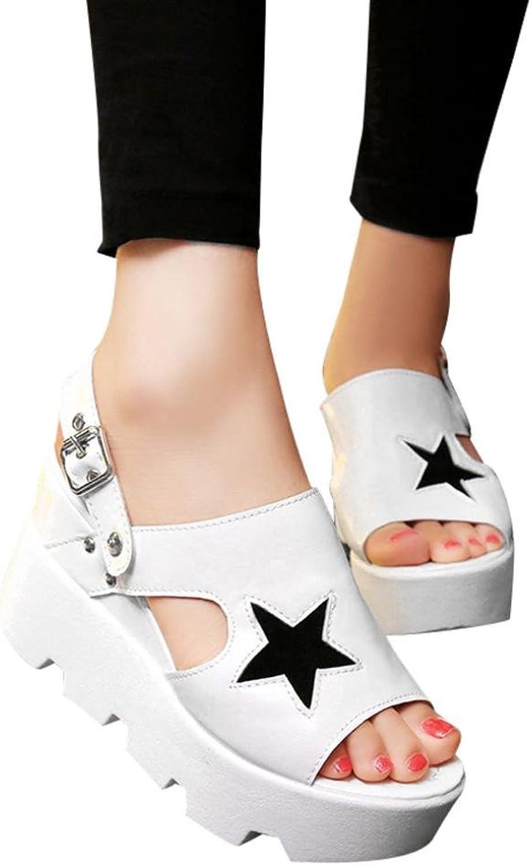 Fheaven (TM) Women 2 in 1 Sandals Slipper Suede Casual Buckle shoes Five-Star Sandals Platform Wedges On High Heel Slipper