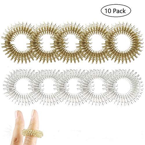 KOBWA Spiky Sensory Finger Ring, Hedgehog Acupressure Massage Rings Set Stress Relief Fidget Toys for Kids Teens Adults (Pack of 10)