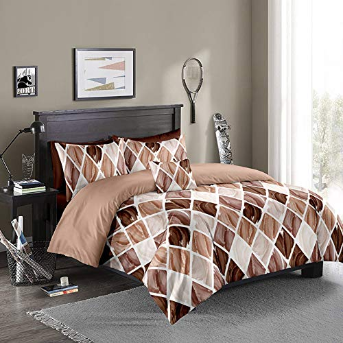 Sisher Modern Geometric Duvet Cover Set Single Size Brushed Microfiber Bedding Coffee Soft Qulit Cover with Zipper Closure and Easy Care Hotel Quality Comforter Cover 135x200cm