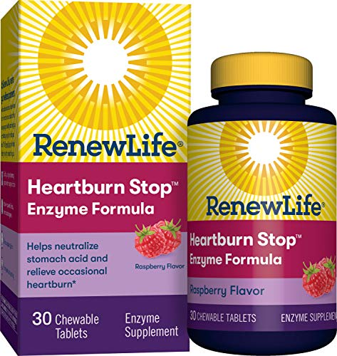 Renew Life Adult Plant-Based Enzyme Supplement - Heartburn Stop Enzyme Formula, Raspberry Flavor - 30 Chewable Tablets (Packaging May Vary)