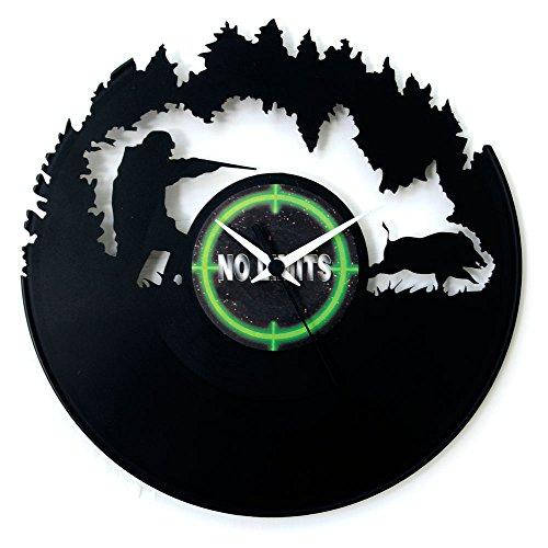 Uhr Jagduhr aus Vinyl, Wanduhr als Geschenk oder für die Waffenkammer