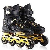 Skates Trolley Patines Roller Masculino Cuchillas Patines en línea Principiante Deportes al Aire Libre Entretenimiento Ejercicio for Hombres y Mujeres Roller LQHZWYC (Color : Black, Size : 43)