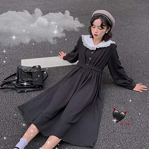 S-Chihir Vestido de Falda Lolita Vestido Streetwear Mujer Kawaii Negro Vestido de Cintura Alta gótico Lolita japonés Preppy Estilo Coreano Calle Mujer Estilo Universitario...