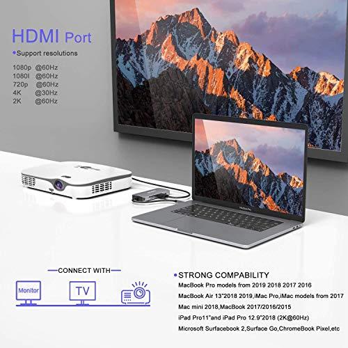 MOKiN USB C Hub, USB C Adapter für MacBook Pro 2020/2019/2018/2017, MacBook Air 2020/2019/2018, 8 in 1 Typ C Adapter mit 4K@30Hz HDMI, 1080P VGA, 3*USB 3.0, 87W Power Delivery, SD/TF Kartenleser