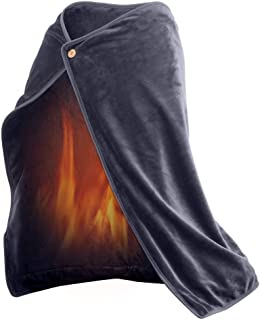 USB Heated Fleece Blanket with Heating Pad Plus Phone Charger Power Bank to Keep You Warm Outdoors