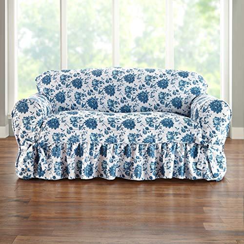 BrylaneHome Loveseat Slipcover, Blue Floral