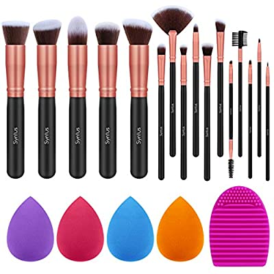 Syntus Makeup Brush Set, 16 Makeup Brushes & 4 Blender Sponge & 1 Brush Cleaner Premium Synthetic Foundation Powder Kabuki Blush Concealer Eye Shadow Makeup Brush Kit