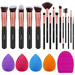 Complete Makeup Brush Set: Consists of 5 pcs basic big kabuki makeup brushes and 11 pcs precise eye makeup brushes for eye shadow, crease shadow, concealer etc. 4 FREE makeup sponge and 1 FREE brush cleaner included as well. Premium Synthetic Fibers ...