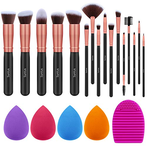 Syntus Makeup Brush Set 16 Makeup Brushes amp 4 Blender Sponges amp 1 Cleaning Pad Premium Synthetic Foundation Powder Kabuki Blush Concealer Eye Shadow Makeup Brush Kit Black Golden