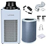 """LAYOND 6"""" Carbon Filter Grow Tent Ventilation System, 400CFM Super Quiet Inline Fan Kit, Bigger Capacity Full Charcoal Filter, Variable Speed Controller, 10ft Ducting and 7ft Power Cord Adaptor"""