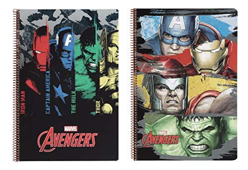 Avengers-511734066 los_Vengadores Libreta Folio 80 Hojas Tapas duras, Color Negro (SAFTA 511734066)
