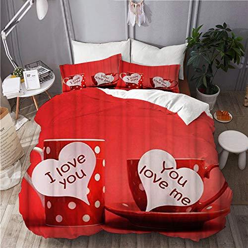 Minalo Set Biancheria da Letto,Microfibra,Tazze per Innamorati di Coppia I Love You You Love Me Tazza da caffè Tazza Rossa e Bianca,1 Copripiumino 220x240 + 2 federe