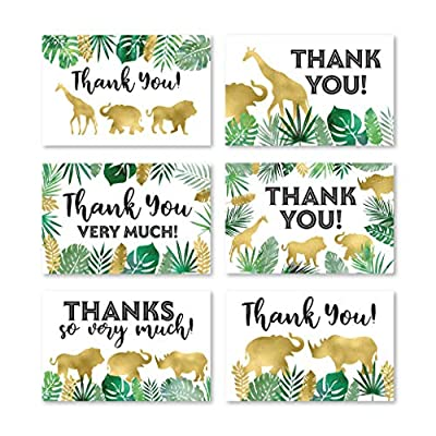 24 Safari Thank You Cards With Envelopes, Kids or Baby Shower Thank You Note, Jungle Greenery Gold 4x6 Varied Zoo Animal Giraffe Gratitude Card Pack For Party, Girl Boy Children Birthday Stationery from Hadley Designs