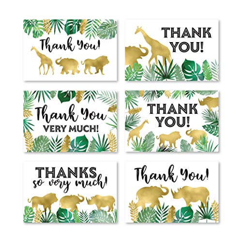 24 Safari Thank You Cards With Envelopes, Kids or Baby Shower Thank You Note, Jungle Greenery Gold 4x6 Varied Zoo Animal Giraffe Gratitude Card Pack For Party, Girl Boy Children Birthday Stationery